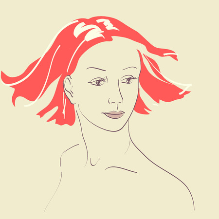 sch�nes frauengesicht: Sch�ne Frau Gesicht handgezeichneten Portrait Illustration
