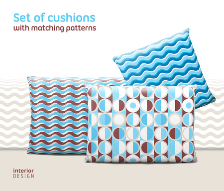 cushions: Set of cushions and pillows with matching seamless patterns