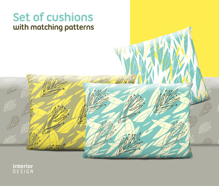 cushions: Set of cushions and pillows with matching seamless patterns. Interior, furniture design elements.