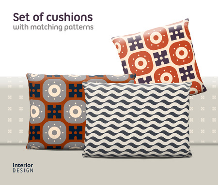 Set of cushions and pillows with matching seamless patterns. Interior, furniture design elements.