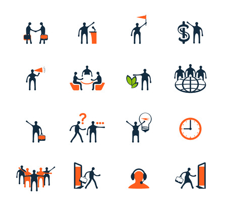 Business people icons. Management, human resources, marketing, e-commerce solutions. Flat design
