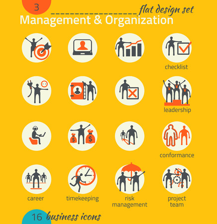 Business icon set. Management, human resources, marketing, e-commerce solutions. Flat design Vector