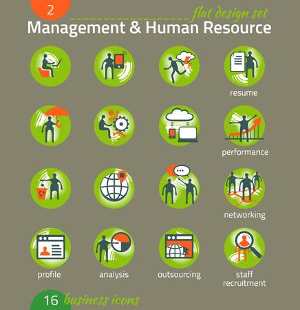 Business icon set. Management, human resources, marketing, e-commerce solutions. Flat design