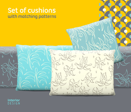 Set of cushions and pillows with matching seamless patterns.  Illustration