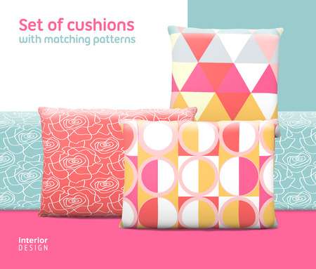 cushions: Set of cushions and pillows with matching seamless patterns.