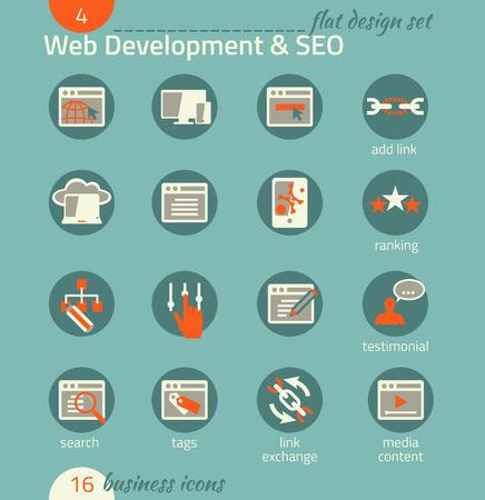 Business icon set. Software and web development, SEO, marketing, e-commerce. Flat design Vector