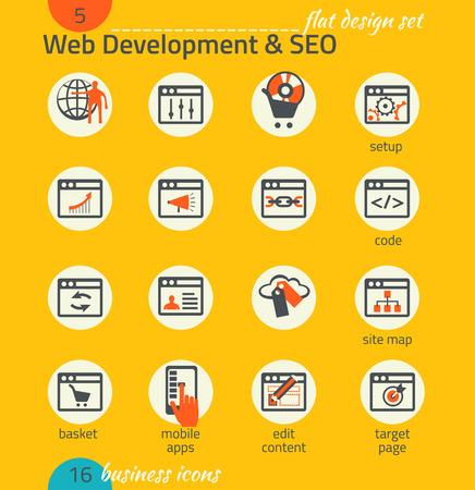 Business icon set. Software and web development, SEO, marketing, e-commerce. Flat design