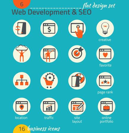 markup: Business icon set. Software and web development, SEO, marketing, e-commerce. Flat design