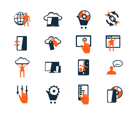 global settings: Business icon set. Software and web development, marketing, e-commerce. Flat design Illustration