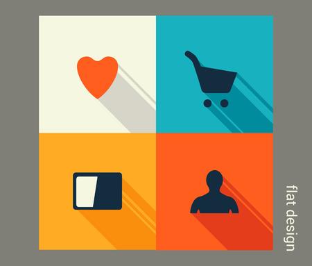 Business icon set. Management, marketing, e-commerce solutions. Flat design