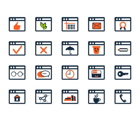 Icon set. Web development and SEO. Flat design Vector