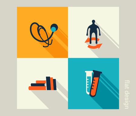 Business icon set. Healthcare, medicine, checkup. Flat design Vector