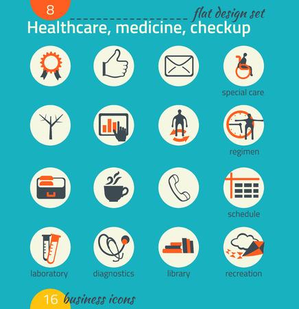 regimen: Business icon set. Healthcare, medicine, diagnostics. Flat design