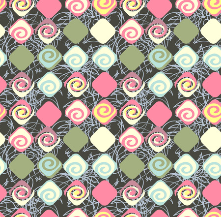imagery: Geometric abstract seamless pattern motif background. Colorful shapes of spirals and rhombuses. Square composition