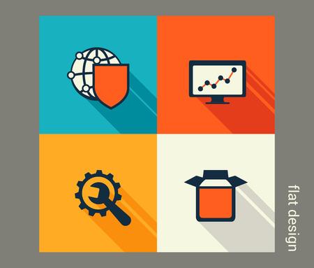 Business icon set. Software and web development, marketing, e-commerce. Flat design Ilustração