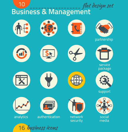 Business icon set. Software and web development, marketing, global communications. Flat design. The map image is derived from the materials of the University of Texas Libraries, The University of Texas at Austin.