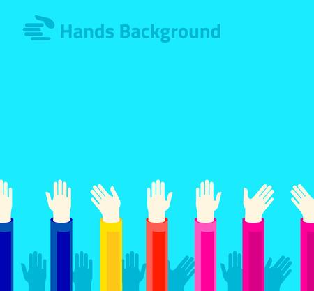 polling: Hands raised up for voting or polling. Brochure, leaflet design