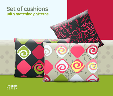 cushions: Set of cushions and pillows with matching seamless patterns.  Illustration