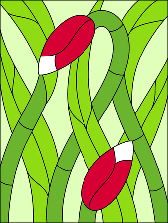 Stained glass window. Composition of stylized tulips, leaves, geometric border