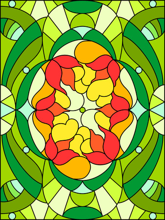 stained glass windows:  Flowers composition. Floral pattern for stained glass window.