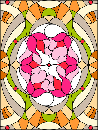 Flowers composition. Floral pattern for stained glass window.