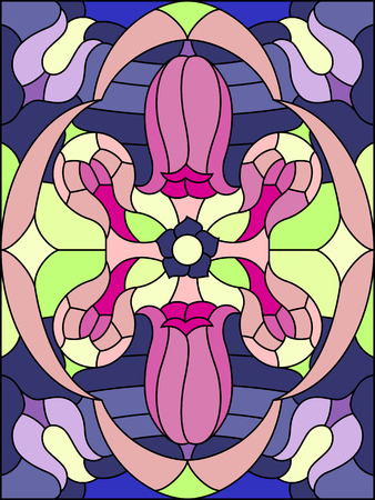 Flowers composition. Floral pattern for stained glass window. Vector