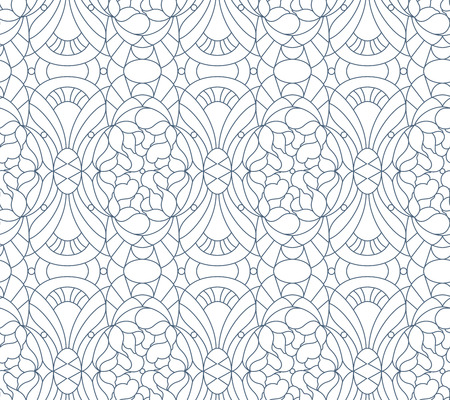 black outline: Seamless floral pattern. Composition of stylized flowers, leaves, geomertrical shapes Illustration