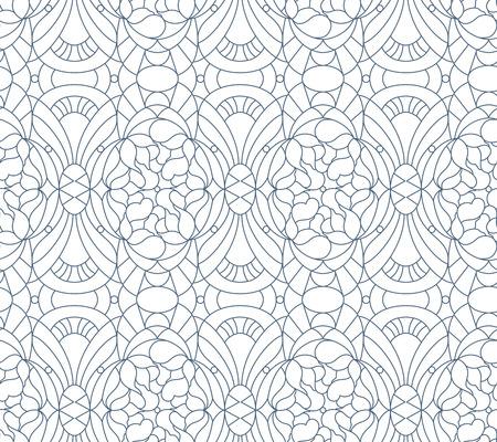 blanco y negro: Sin fisuras patr�n floral. Composici�n de flores estilizadas, hojas, formas geomertrical