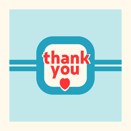 Thank you card design template. Retro style  Illustration