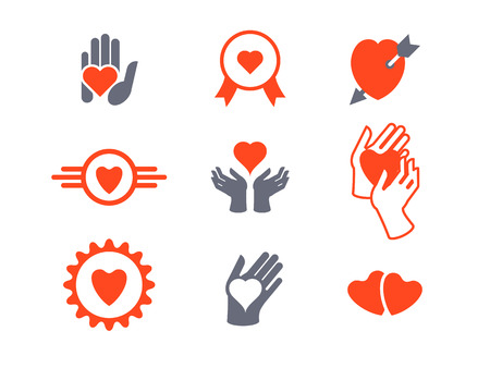 Hearts, hands icon set. Concept of love, care, protection Illustration