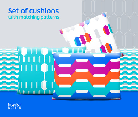 swatches: Set of cushions and pillows with matching seamless patterns. Interior, furniture design elements. EPS10 vector, meshes, transparencies used. Pattern swatches included