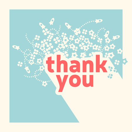 Thank you card design template. Retro style  Vector