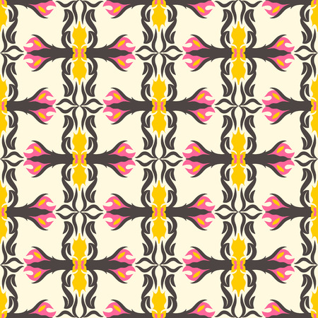 Abstract seamless pattern floral motif background. Colorful shapes composition
