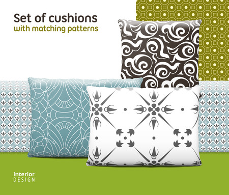cushions: Set of cushions and pillows with matching seamless patterns. Interior, furniture design elements.   Illustration