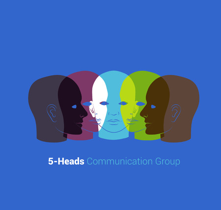 Human heads silhouettes. Group of people talking, working together. Concept illustration Vector