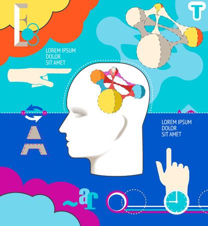 Business concept. Human intelligence illustration. Head, hands, ideas. Illustration
