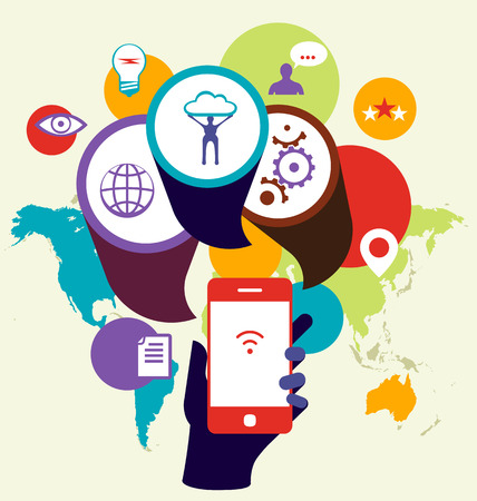 derived: Mobile phone device seo optimization. Business concept illustration. Flat design. The map image is derived from the materials of the University of Texas Libraries, The University of Texas at Austin.