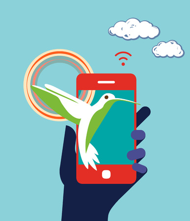 Mobile phone device business concept illustration. Hummingbird, rainbow in hand. Flat design Vector