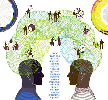 Business concept. Illustration of collaboration, teamwork and creative thinking