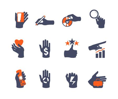 Hands icon set for website or application. Flat design Illustration