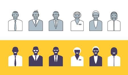 Business people simple avatars collection Illustration