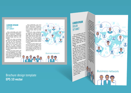 a5: Brochure, booklet z-fold layout. Editable design template. EPS10 vector, transparencies used.