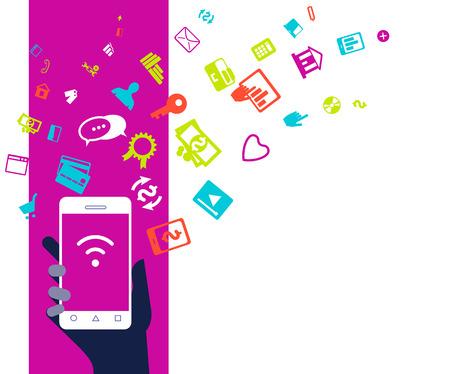 Mobile phone device business concept illustration. Flat design