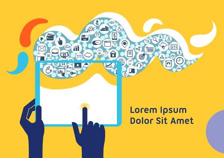 Cloud computing mobile device application network concept illustration