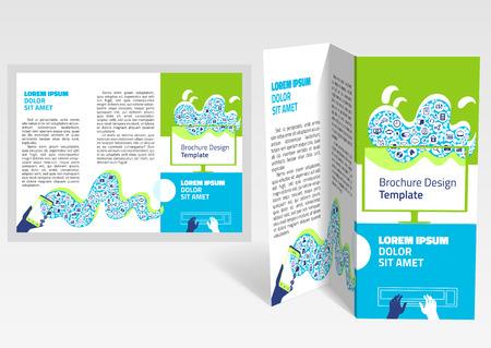 Brochure Booklet Z Fold Layout Editable Design Template Eps10