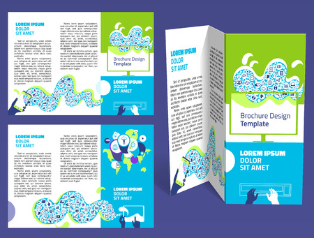 z fold: Brochure, booklet z-fold layout. Editable design template. Two sides. EPS10 vector, transparencies used