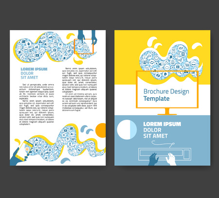 a5: Flyer, leaflet, booklet layout. Editable design template A4 two sides