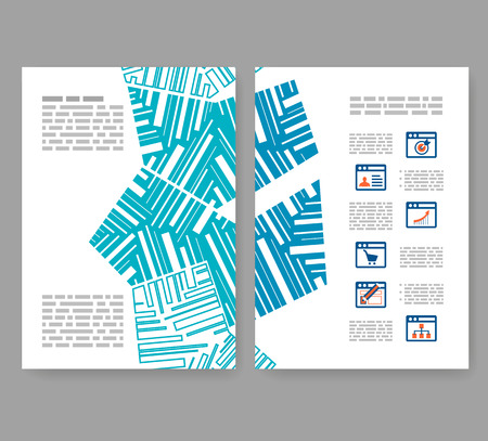 Flyer, leaflet, booklet layout. Editable design template. A4 2-fold brochure with abstract elements, infographics