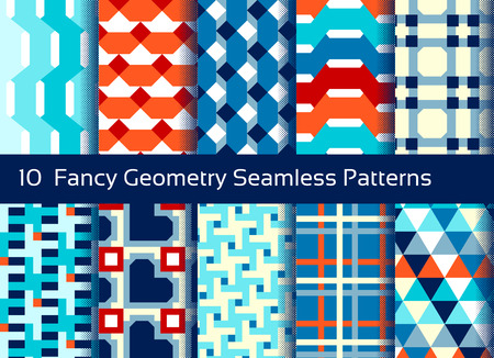 Geometric seamless pattern background. Set of 10 abstact motifs. Colorful shapes composition Illustration