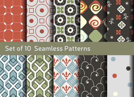 conservative: Abstract seamless patterns. Geometrical and ornamental motifs. Conservative retro style
